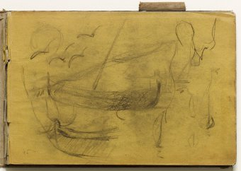 Sketch of small boats and seagulls