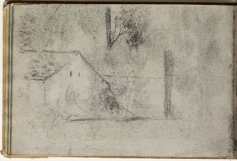 Sketch of a landscape with house