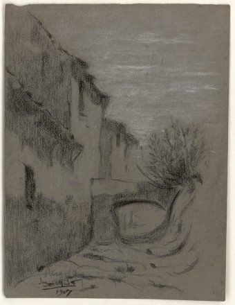 Untitled (Houses and stream)