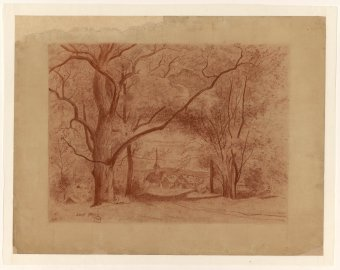 Untitled (Landscape with trees and village)
