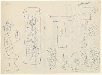 Drawings of Ironing board, 1956; Large palm tree, 1956; Portico, 1956; Large figure, 1956, and other unidentified works