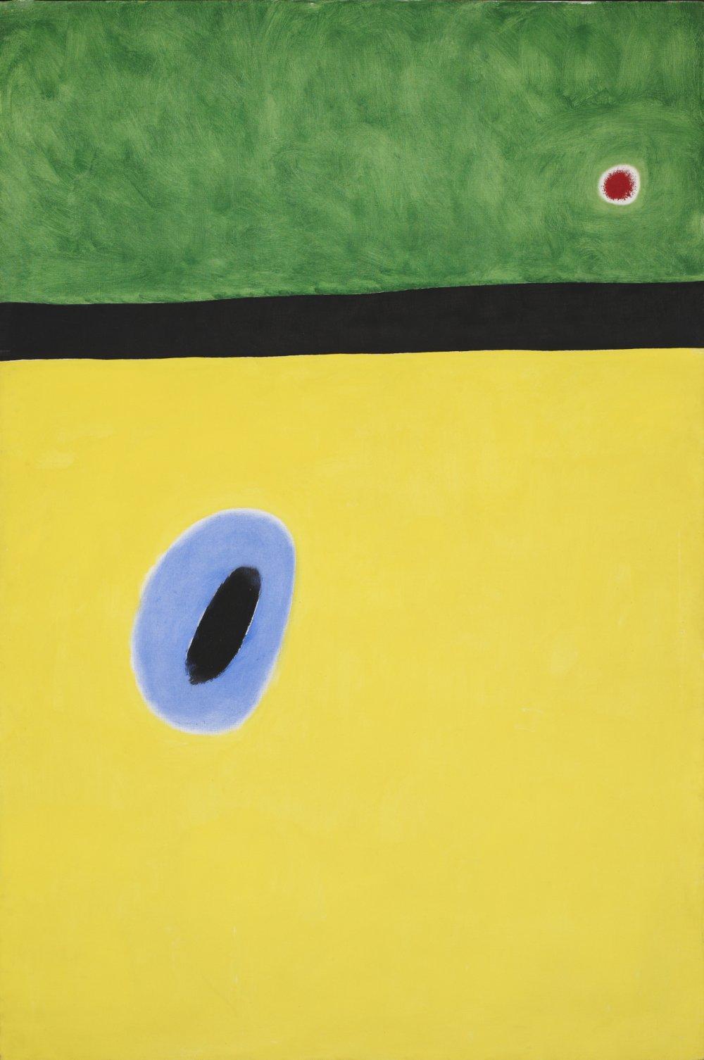 Joan Miró: El ala de la alondra aureolada de azul de oro llega al corazón de la amapola adormilada sobre el prado engalanado de diamantes (1967).
