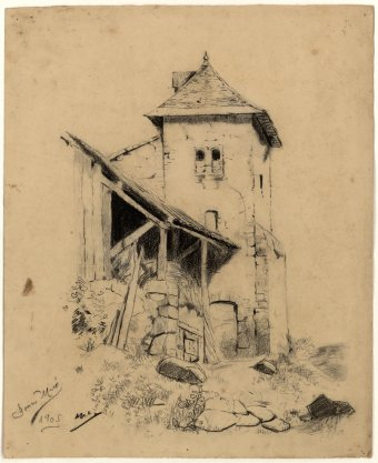 Untitled (House with hay barn)