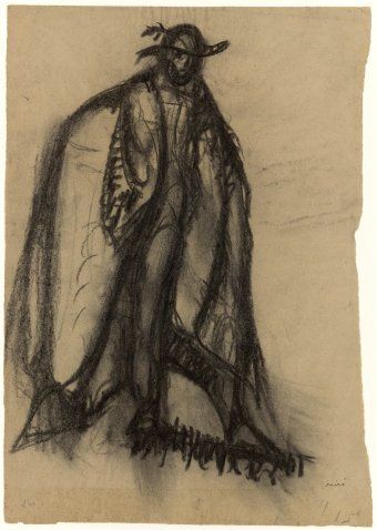 Untitled (Figure with hat and cloak)