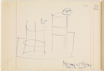 Preliminary drawing for Man and woman in the night, 1969